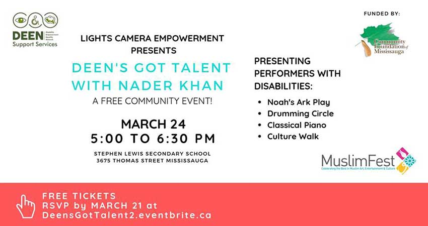 DEEN's Got Talent with Nader Khan: A Free Community Event Showcasing Performers with Disabilities