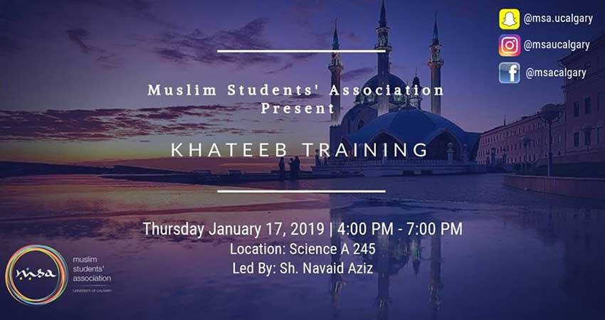 Muslim Students' Association at the University of Calgary Khateeb Training