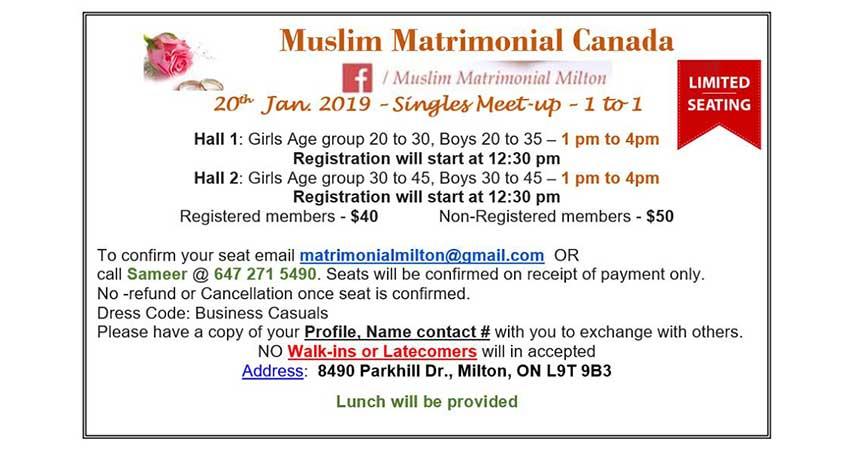 Muslim Matrimonial Canada Singles Meetup