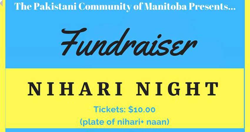 Pakistani Community of Manitoba Nihari Night Fundraiser for MIA