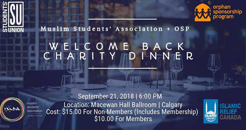 Muslim Students' Association at the University of Calgary Welcome Back Charity Dinner