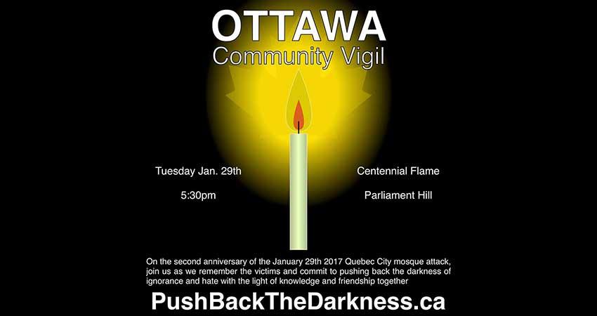 Anniversary of Jan 29th Quebec City Mosque Attack Ottawa Vigil