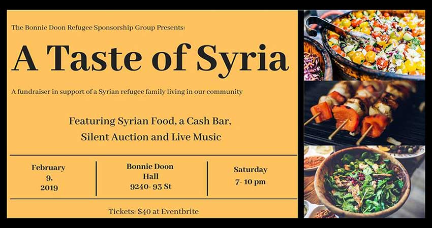 A Taste Of Syria - A Fundraiser for Bonnie Doon Refugee Sponsorship Group