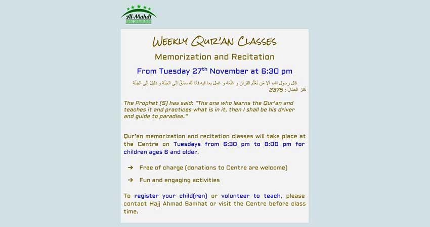 Al Mahdi Centre Weekly Quran Classes Memorization and Recitation