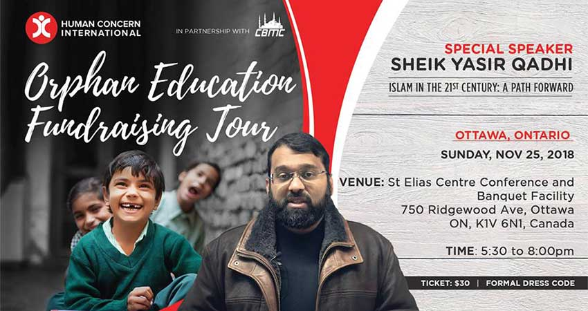 Human Concern International Orphan Education Fundraising Tour - Sheikh Yasir Qadhi in Ottawa