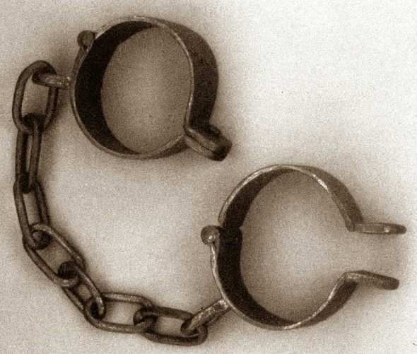 A pair of shackles used on West African slaves. Photo credit: examiner.com