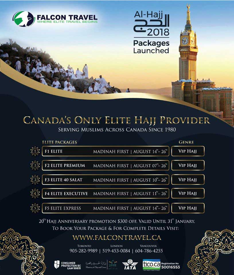 Falcon Travel Hajj 2018 Packages Canada