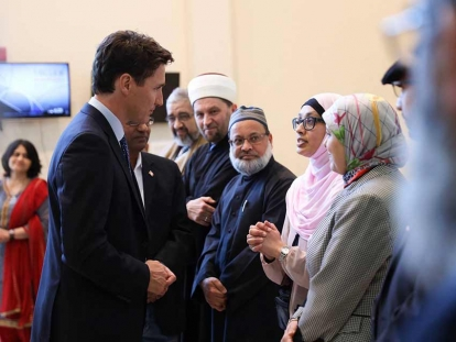 Prime Minister Justin Trudeau visits the South Nepean Muslim Community (SNMC) mosque in Ottawa, Ontario on March 17, 2019.