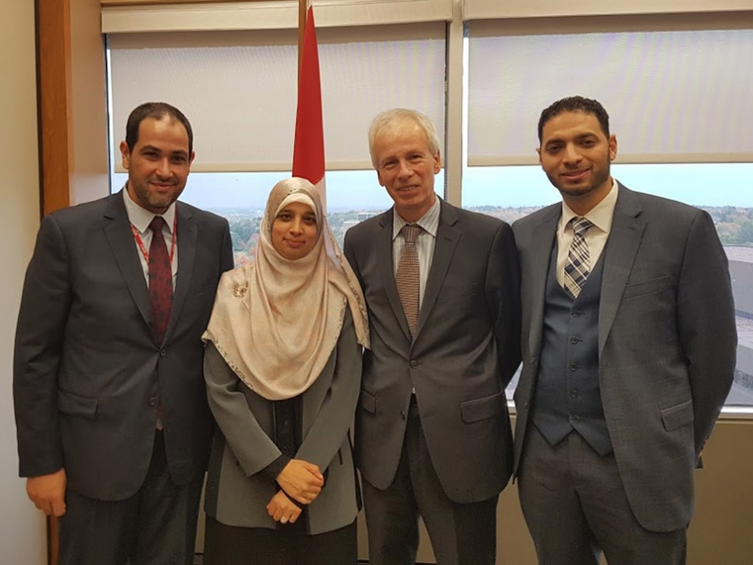 Khaled Al Qazzaz, Sarah Attia, Hon. Stephane Dion, and Ahmad Attia in Ottawa.