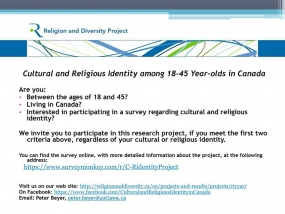 Complete the Cultural and Religious Identity among 18-45 year-olds in Canada Survey