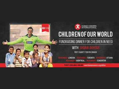 Join Pakistani Cricketer Shoaib Akhtar on his Canadian Tour for Human Concern International