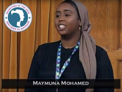Maymuna Mohamed represented the riding of York Centre, Ontario at Equal Voice's Daughters of the Vote gathering in March.
