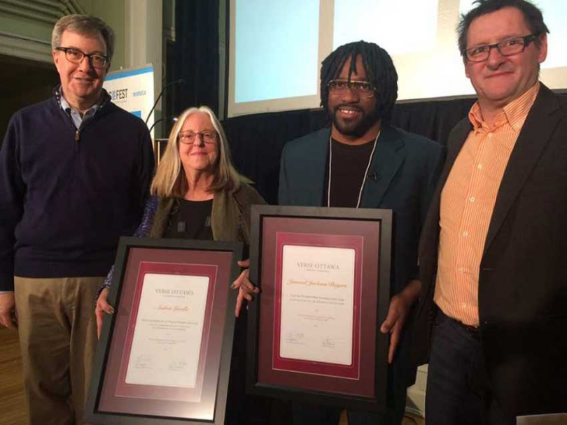 Mayor Jim Watson introduced Ottawa's new poets laureate, Andrée Lacelle (French) and Jamaal Jackson Rogers (English), with VERSe Ottawa president Yves Turbide.