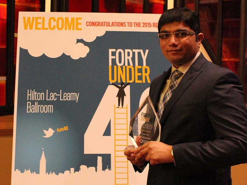 Entrepreneur Obaid Ahmed was a recipient of the 2015 Top 40 under 40 Award for local business professionals by the Ottawa Business Journal.