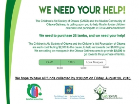 Funds Needed: The Children's Aid Society of Ottawa and Muslim Family Services Ottawa Need Your Help This Eid