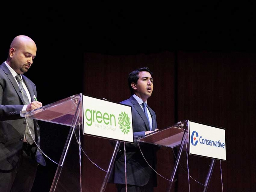 "Muslims running in the Federal Election: Adnan Shahbaz for the Green Party and Karim Jivraj for the Conservative Party, speak at the ""Young, Canadian and Muslim - Making Our Ballots Count!"" Federal Election Debate."
