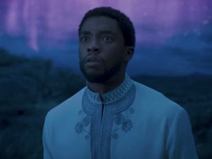 King T'Challa sporting what looks like a South Asian sherwani while visiting the ancestral plane in the film Black Panther.