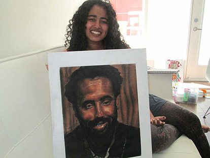 Sarah-Mecca Abdourahman's portrait of her father, based on a photograph of him taken shortly after his wedding.