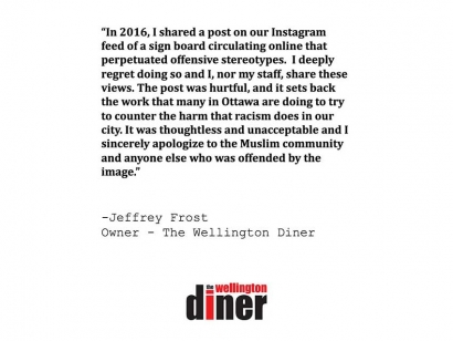 The owner of the Wellington Diner has issued an apology about the Islamophobic 2016 Instagram Post.