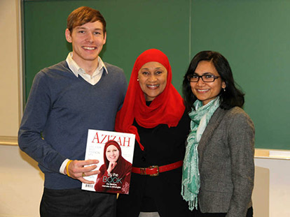 Tayyibah Taylor at the University of Ottawa with Professor Rukhsana Ahmed.