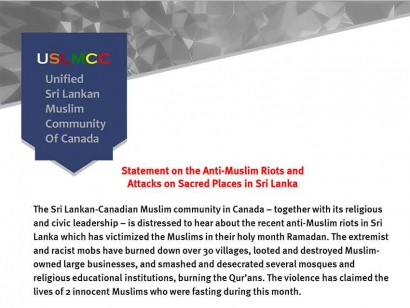 Unified Sri Lankan Muslim Community Of Canada Statement on the Anti-Muslim Riots and Attacks on Sacred Places in Sri Lanka